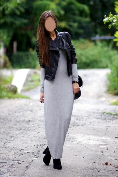 Object dzianinowa maxi sukienka bodycon szary melanż S M