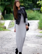 Object dzianinowa maxi sukienka bodycon szary melanż S M...
