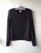Czarna bluza koronka siateczka H&M XS