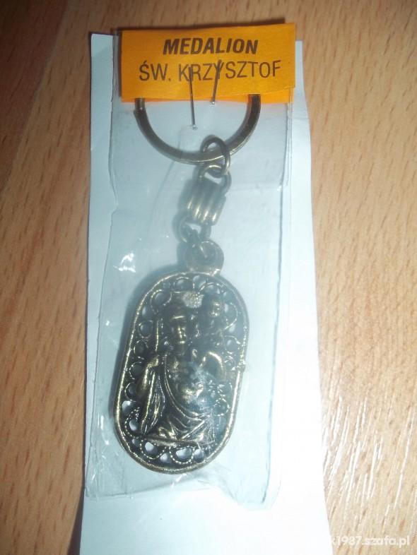 Breloczek medalion ze Św Krzysztofem