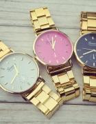 Zegarek złoty na bransolecie tarcza kolor