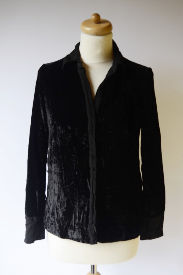Koszula Czarna Welurowa H&M S 36 Welur Oversize Elegancka...