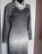 MANGO śliczna sweterkowa sukienka z golfem odcienie popielu i b...