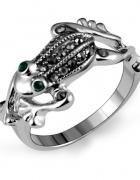 Nowy pierścionek srebrny kolor żaba żabka cyrkonie czarne...