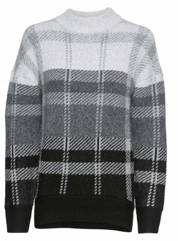 Ciepły sweter w dużą kratkę szary czarny...