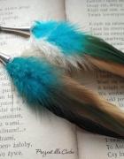 kolczyki pióra howlit srebrne 925 kolorowe indiańskie turkusowe...