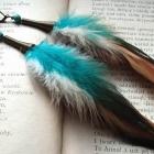 kolczyki pióra howlit srebrne 925 kolorowe indiańskie turkusowe boho etniczne