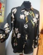 bluzka koszula Zara SX S m czarna kwiaty...