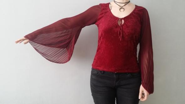 Bordowa bluzka rozszerzane rękawy asymetryczne goth
