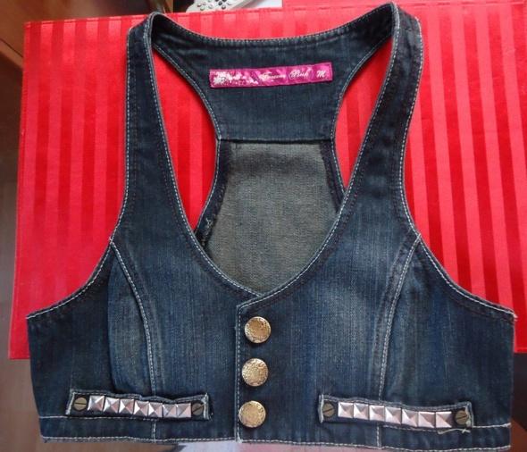 Granatowa kamizelka jeansowa z ćwiekami na guziki Forever Pink ...