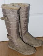 kozaki beżowe beż ciepłe boty zimowe pikowane długie...