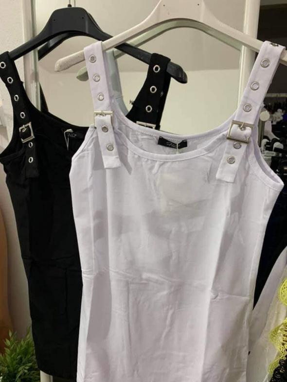 Bluzki Bluzeczka biała klamry sprzączki szelki
