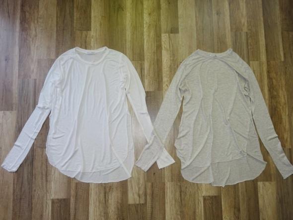 Zara 2 cienkie bluzki z długim biała ecru 36 S...