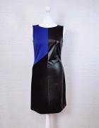 10 38 M Pretty Girl Czarna niebieska kobaltowa sukienka skórkow...