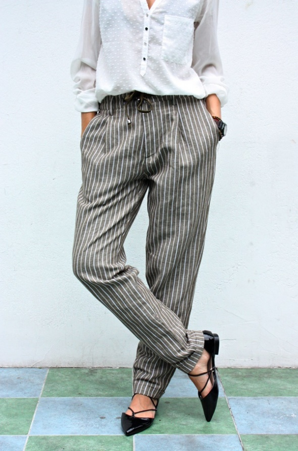 Włoskie spodnie Adamus len bawełna
