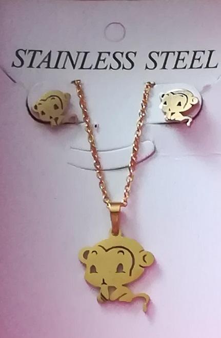 Komplet Biżuterii ze Stali Nierdzewnej Małpki