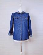 6 34 XS SinSay Niebieska jeans jeansowa koszula złote ćwieki...