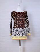 12 40 L Miss Blush Wzorzysta wielobarwna tunika krótka sukienka...