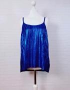 8 36 S H&M Śliczna niebieska kobaltowa połyskująca bluzeczka...