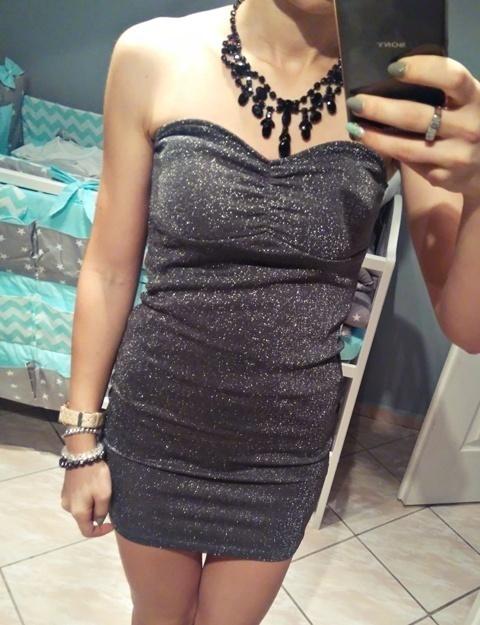 Suknie i sukienki sukienka srebrna mini tuba