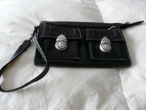 Czarny portfel duża portmonetka saszetka etui