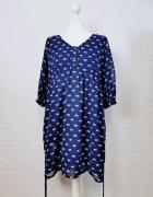 14 42 XL Atmosphere Plus Size Granatowa sukienka w kwiaty...