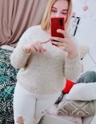 18 46 3XL Tu plus size biały sweter przeszywany złotą nitką...