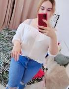 20 48 4XL Atmosphere Plus Size Biała paskowana bluzeczka hiszpa...