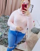 20 48 4XL Plus Size Pudrowy róż puchaty włochaty sweterek z gol...