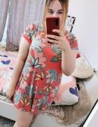 22 50 5XL George Plus Size Koralowa wzorzysta sukienka tunika...