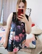 20 48 4XL George Plus Size Granatowa welurowa aksamitna sukienk...
