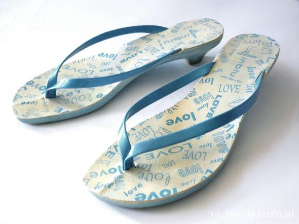 Japonki na obcasie 37 Inblu buty na lato niskie