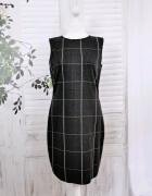 14 42 XL Plus Size Boohoo Czarna popielata sukienka biała złota...