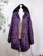 20 48 4XL Plus Size Fioletowa dłuższa kurteczka płaszczyk...