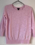 różowy sweterek H&M S M rękaw 3 4 cieniutki...