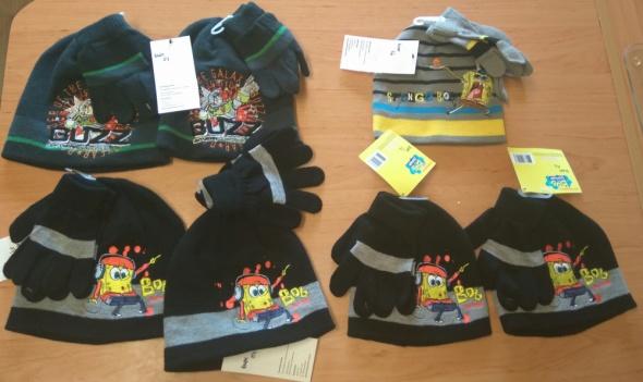 Nowy komplet zimowy czapka chłopięca i rękawiczki spongebob Buz...