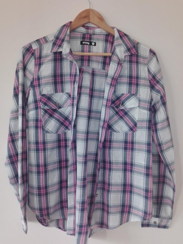 Koszule Różowa koszula w kratę SINSAY