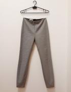 Mango spodnie z wysokim stanem na gumie pepitka cygaretki 36