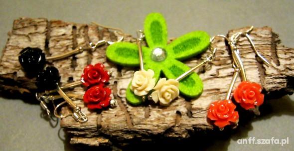 Róże z korala kolczyki 4 kolory do wyboru