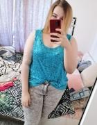 26 54 7XL So Fabulous Plus Size Turkusowa cekinowa bluzeczka