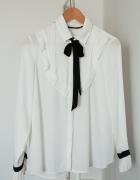 Biała bluzka z wiązaną kokardą ZARA S 36...