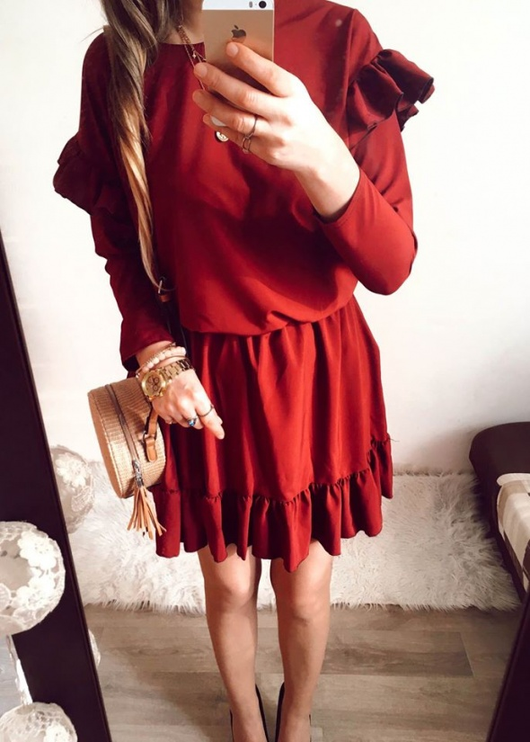 Sukienka Damska bordowa rozkloszowana M