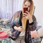 20 48 4XL Plus Size Wielobarwne wzorzyste kimono narzutka blezer