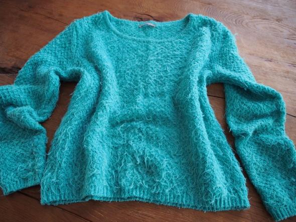 Swetry Miętowy zielony włochaty sweter Orsay