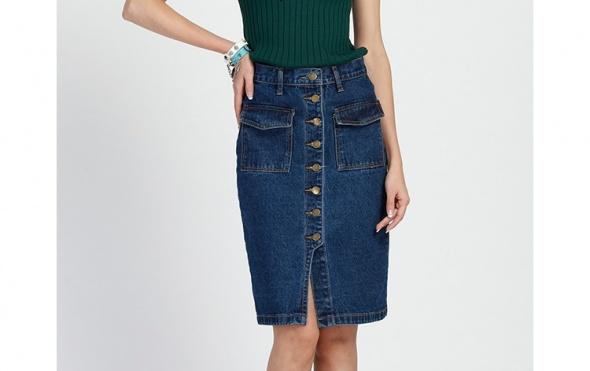 Elegancka spódnica jeansowa ciekawy fason L XL