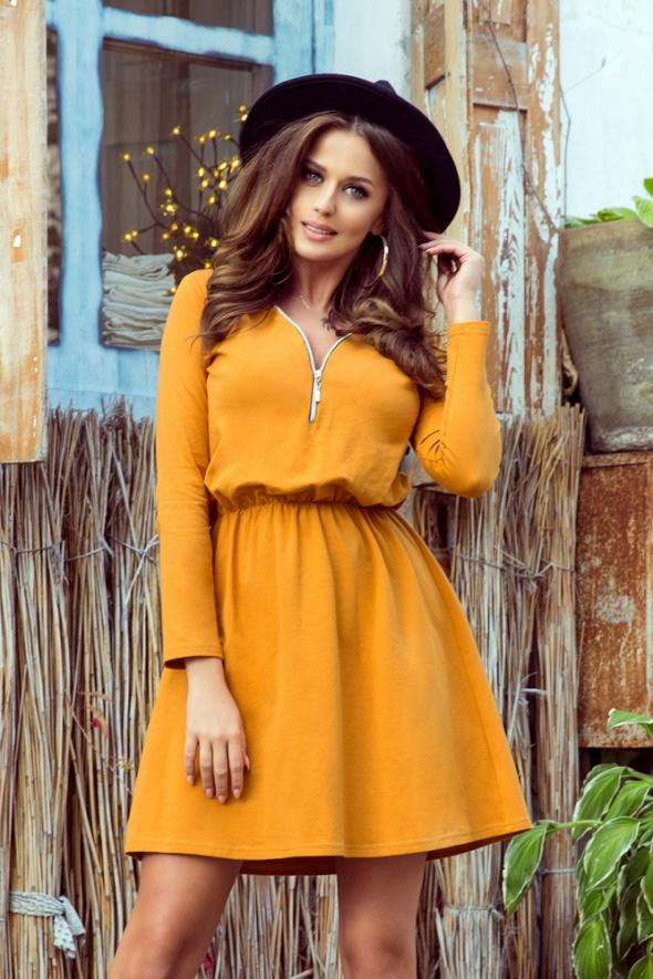 Suknie i sukienki NANCY Sukienka z zamkiem kolor musztradowy S M L XL