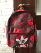 Adidas plecak w róże kwiaty czerwony logo eko skóra...