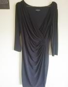 Elegancka sukienka czarna na sylwestra m l zakrywająca brzuszek