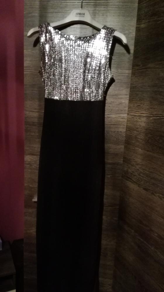 Czarno srebrna długa sukienka...