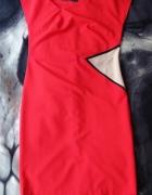 Czerwona Ołówkowa Sukienka PEPERUNA